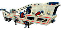 3' cone crusher, on wheels, with screen and close-circuit in transport position