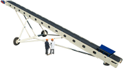 "Radial conveyor 30"" by 18 m, stackable"